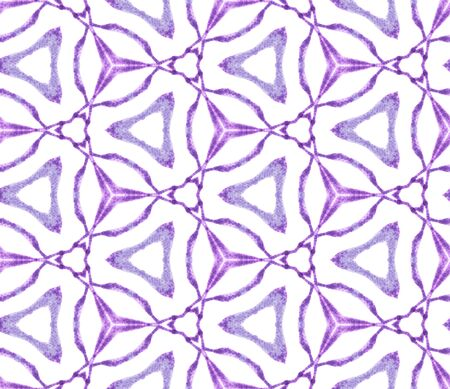 Purple medallion seamless pattern. Hand drawn watercolor ornament. Pretty repeating tile. Fine fabric cloth, swimwear design, wallpaper, wrapping.