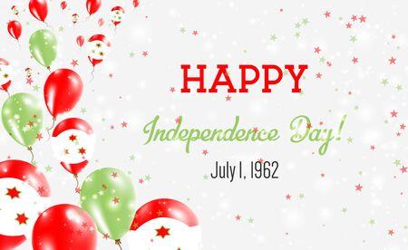 Burundi Independence Day Greeting Card. Flying Balloons in Burundi National Colors. Happy Independence Day Burundi Vector Illustration.