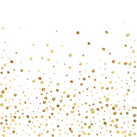 Sparse gold confetti luxury sparkling confetti. Scattered small gold particles on white background. Adorable festive overlay template. Uncommon vector illustration.