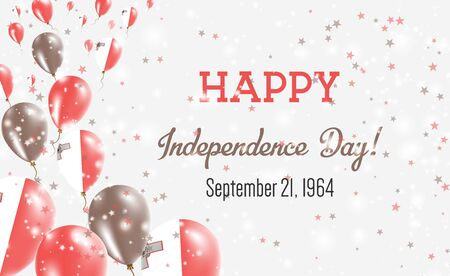 Malta Independence Day Greeting Card. Flying Balloons in Malta National Colors. Happy Independence Day Malta Vector Illustration.