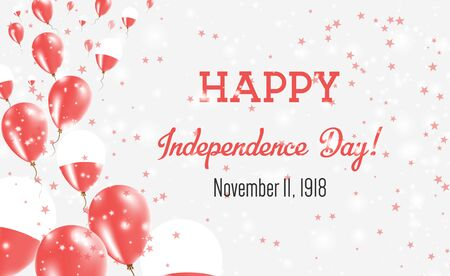 Poland Independence Day Greeting Card. Flying Balloons in Poland National Colors. Happy Independence Day Poland Vector Illustration. Vektoros illusztráció
