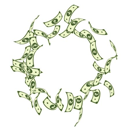 Caduta delle banconote della rupia indiana. Fatture INR galleggianti su sfondo bianco. Soldi dell'India. Illustrazione vettoriale accattivante. Grande jackpot, ricchezza o concetto di successo. Vettoriali