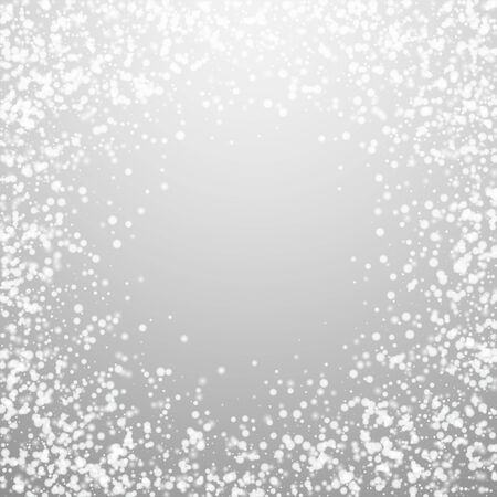 Amazing falling snow Christmas background. Subtle flying snow flakes and stars on light grey background. Amusing winter silver snowflake overlay template. Alluring vector illustration.