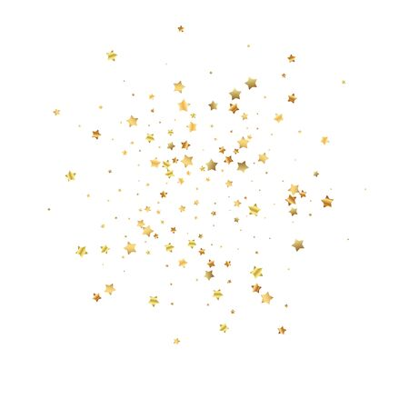 Gold stars random luxury sparkling confetti. Scattered small gold particles on white background. Actual festive overlay template. Indelible vector illustration.