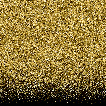 Gold triangles glitter luxury sparkling confetti. Scattered small gold particles on black background. Amazing festive overlay template. Cool vector illustration. Иллюстрация