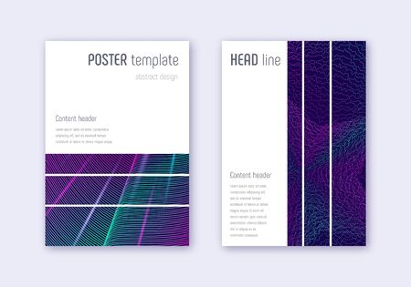 Geometric cover design template set. Neon abstract lines on dark blue background. Bewitching cover design. Beautiful catalog, poster, book template etc.