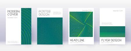Minimal brochure design template set. Green abstract lines on dark background. Appealing brochure design. Lovely catalog, poster, book template etc. Illusztráció