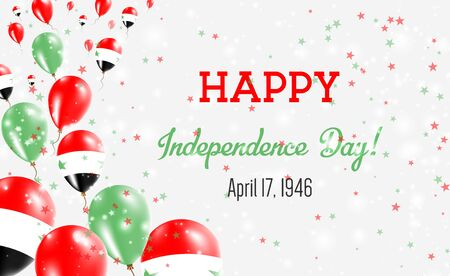 Syrian Arab Republic Independence Day Greeting Card. Flying Balloons in Syrian Arab Republic National Colors. Happy Independence Day Syrian Arab Republic Vector Illustration.