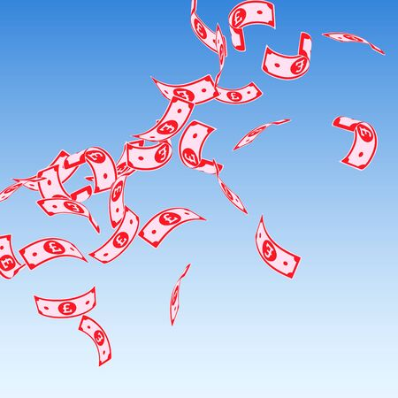 British pound notes falling. Floating GBP bills on blue sky background. United Kingdom money. Authentic vector illustration. Alluring jackpot, wealth or success concept.