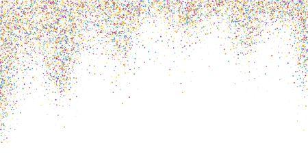 Festive confetti. Celebration stars. Colorful confetti on white background. Delicate festive overlay template. Worthy vector illustration. Illusztráció