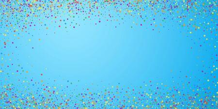 Festive confetti. Celebration stars. Rainbow confetti on blue sky background. Elegant festive overlay template. Fetching vector illustration.