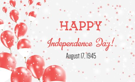 Indonesia Independence Day Greeting Card. Flying Balloons in Indonesia National Colors. Happy Independence Day Indonesia Vector Illustration. Illusztráció