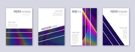 Geometric brochure design template set. Rainbow abstract lines on dark blue background. Alluring brochure design. Lively catalog, poster, book template etc.
