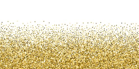 Gold glitter luxury sparkling confetti. Scattered small gold particles on white background. Brilliant festive overlay template. Captivating vector illustration.