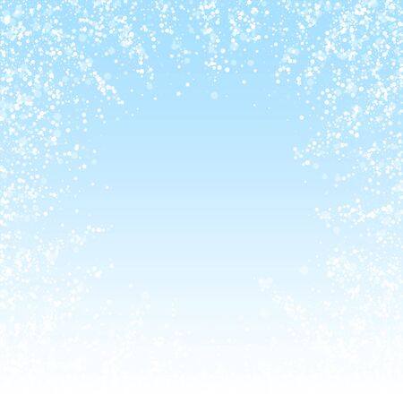 Magic stars Christmas background. Subtle flying snow flakes and stars on winter sky background. Beauteous winter silver snowflake overlay template. Alluring vector illustration.