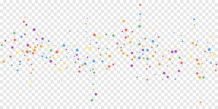 Festive confetti. Celebration stars. Joyous stars on transparent background. Dazzling festive overlay template. Magnificent vector illustration. Illusztráció
