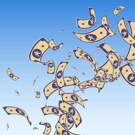 Chinese yuan notes falling. Messy CNY bills on blue sky background. China money. Dramatic vector illustration. Pretty jackpot, wealth or success concept.
