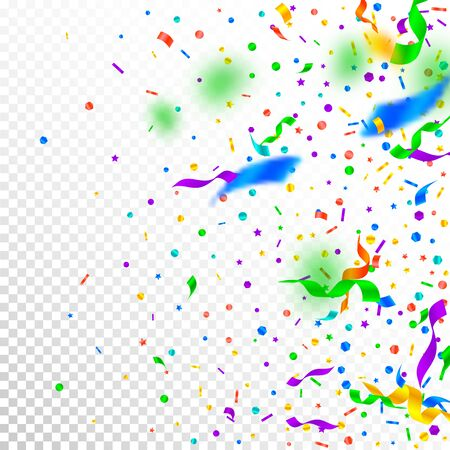 Streamers and confetti. Festive tinsel and foil ribbons. Confetti gradient on white transparent background. Beauteous paty overlay template. Magnetic celebration concept. Ilustración de vector