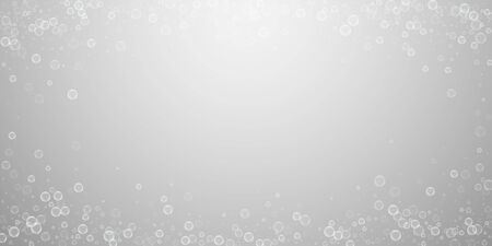 Soap bubbles abstract background. Blowing bubbles on light grey background. Astonishing soapy foam overlay template. Modern vector illustration.