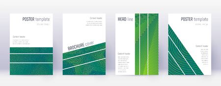 Geometric brochure design template set. Green abstract lines on dark background. Alluring brochure design. Adorable catalog, poster, book template etc. Stock Photo