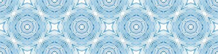 Blue Seamless Border Scroll. Geometric Watercolor Frame. Admirable Seamless Pattern. Medallion Repeated Tile. Interesting Chevron Ribbon Ornament. Stock Photo