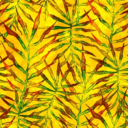 Tropical seamless pattern. Watercolor thorny palm leaves, japanese bamboo. Yellow exotic swimwear design. Summer tropic repeated print. Awesome textile illustration.