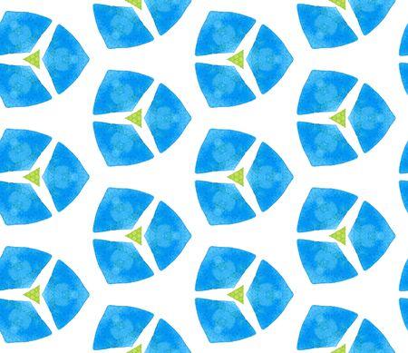 Blaues grünes Retro- nahtloses Muster. Handgezeichnete Aquarellverzierung. sich leicht wiederholende Fliese. Grand Stofftuch, Bademoden-Design, Tapete, Verpackung.