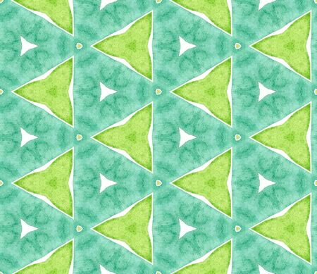 Blue green retro seamless pattern. Hand drawn watercolor ornament. Sightly repeating tile. Actual fabric cloth, swimwear design, wallpaper, wrapping.