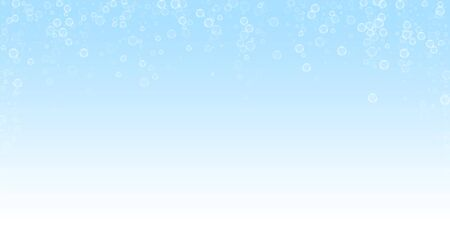 Soap bubbles abstract background. Blowing bubbles on winter sky background. Breathtaking soapy foam overlay template. Immaculate vector illustration. Foto de archivo - 133735081