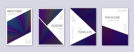 Dreieck-Broschüre-Design-Vorlagen-Set. Abstrakte Linien des Regenbogens auf dunkelblauem Hintergrund. Atemberaubendes Broschürendesign. Feinkatalog, Poster, Buchvorlage etc.