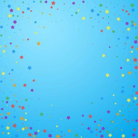 Festive confetti. Celebration stars. Joyous stars on blue sky background. Cool festive overlay template. Fancy vector illustration. Vettoriali