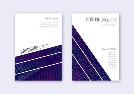 Geometric cover design template set. Neon abstract lines on dark blue background. Breathtaking cover design. Mesmeric catalog, poster, book template etc. Ilustração
