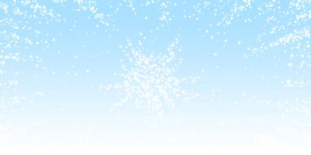 Amazing falling snow Christmas background. Subtle flying snow flakes and stars on winter sky background. Appealing winter silver snowflake overlay template. Stunning vector illustration.
