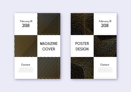 Business cover design template set. Gold abstract lines on black background. Attractive cover design. Magnificent catalog, poster, book template etc. Archivio Fotografico - 133827030