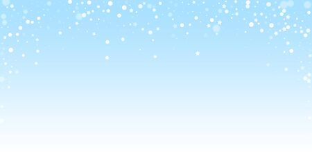 Magic stars random Christmas background. Subtle flying snow flakes and stars on winter sky background. Attractive winter silver snowflake overlay template. Sightly vector illustration. Archivio Fotografico - 133827033