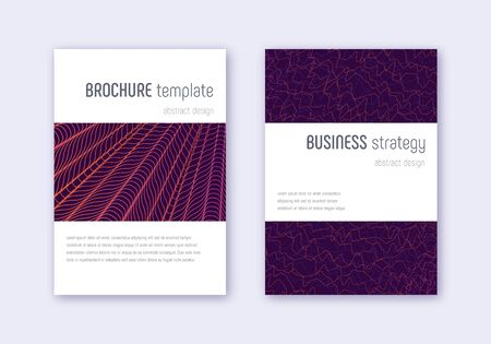 Minimalistic cover design template set. Violet abstract lines on dark background. Excellent cover design. Fetching catalog, poster, book template etc. Archivio Fotografico - 133827036