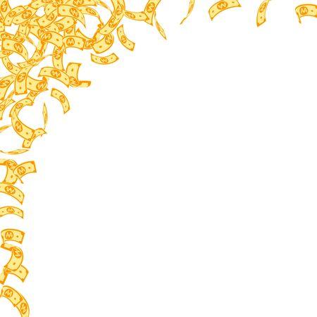 Korean won notes falling. Small WON bills on white background. Korea money. Cute vector illustration. Great jackpot, wealth or success concept. Archivio Fotografico - 133827200