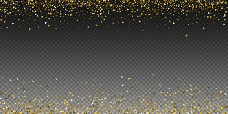 Gold triangles luxury sparkling confetti. Scattered small gold particles on transparent background. Artistic festive overlay template. Powerful vector illustration. Archivio Fotografico - 133827202