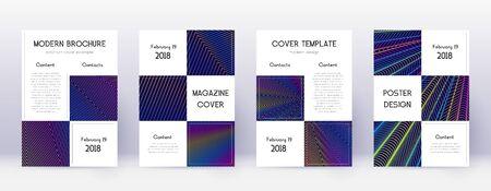 Business brochure design template set. Rainbow abstract lines on dark blue background. Adorable brochure design. Surprising catalog, poster, book template etc. Archivio Fotografico - 133827213