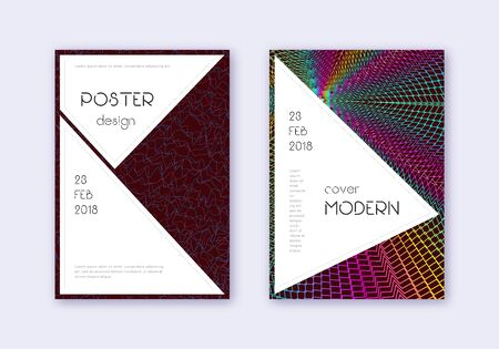 Stylish cover design template set. Rainbow abstract lines on wine red background. Fantastic cover design. Positive catalog, poster, book template etc.