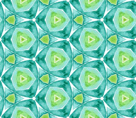 Blue green vintage seamless pattern. Hand drawn watercolor ornament. Ravishing repeating tile. Exotic fabric cloth, swimwear design, wallpaper, wrapping.