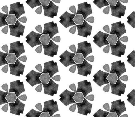 Grey black and white vintage retro seamless pattern. Hand drawn watercolor ornament. Stylish repeating tile. Fair fabric cloth, swimwear design, wallpaper, wrapping. Archivio Fotografico - 133827223