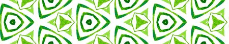 Green kaleidoscope Seamless Border Scroll. Geometric Watercolor Frame. Bold Seamless Pattern. Medallion Repeated Tile. Optimal Chevron Ribbon Ornament. Archivio Fotografico - 133827224