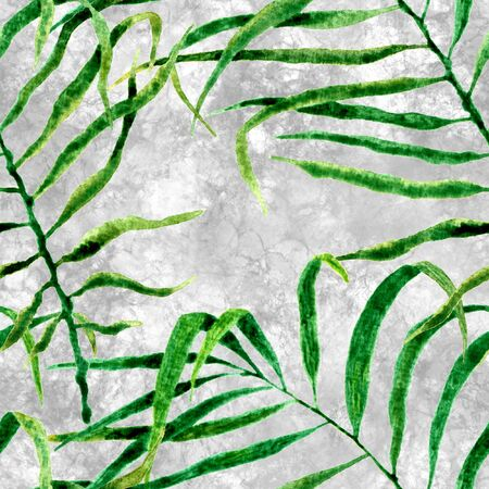 Tropical seamless pattern. Watercolor swaying palm leaves, japanese bamboo. Green exotic swimwear design. Summer tropic repeated print. Posh textile illustration. Archivio Fotografico - 133827226