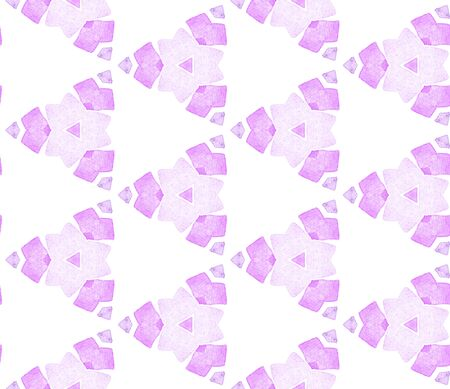 Violet purple vintage kaleidoscope seamless pattern. Hand drawn watercolor ornament. Tempting repeating tile. Bewitching fabric cloth, swimwear design, wallpaper, wrapping. Archivio Fotografico - 133827227