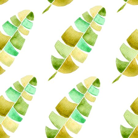 Tropical seamless pattern. Watercolor childlike palm leaves, japanese bamboo. Green exotic swimwear design. Summer tropic repeated print. Extraordinary textile illustration.