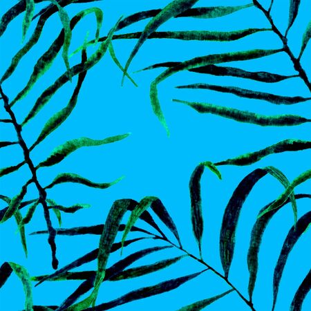 Tropical seamless pattern. Watercolor swaying palm leaves, japanese bamboo. Green exotic swimwear design. Summer tropic repeated print. Mesmeric textile illustration. Archivio Fotografico - 133827435