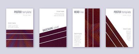 Geometric brochure design template set. Orange abstract lines on wine-red background. Alluring brochure design. Fresh catalog, poster, book template etc. Archivio Fotografico - 133827436