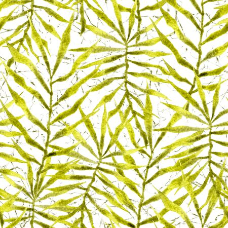 Tropical seamless pattern. Watercolor thorny palm leaves, japanese bamboo. Green exotic swimwear design. Summer tropic repeated print. Fabulous textile illustration. Фото со стока