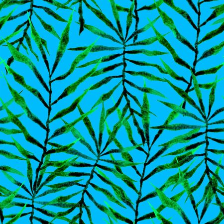 Tropical seamless pattern. Watercolor thorny palm leaves, japanese bamboo. Green exotic swimwear design. Summer tropic repeated print. Decent textile illustration. Фото со стока